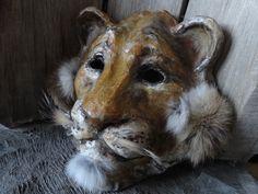 Hand-made papier mache lion head mask