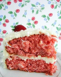 strawberry coconut cake with cream cheese frosting.