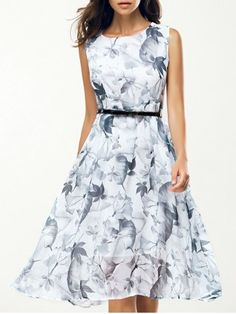 GET $50 NOW | Join RoseGal: Get YOUR $50 NOW!http://www.rosegal.com/print-dresses/elegant-jewel-neck-sleeveless-floral-belted-dress-for-women-561285.html?seid=7074018rg561285