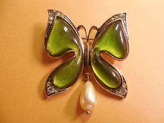 Green Resin Butterfly Brooch Goldtone by SheerTrashRoadshow
