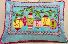 MERRY Pillow available from The Enriched Stitch