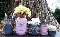 Mason Jar Bathroom Mason Jars. Lilac & Dark Gray. Set of Five. Painted Jars. Toothbrush Holder. Farmhouse Bathroom Decor. Rustic Decor. by KDubWoodCreations on Etsy