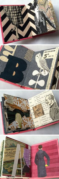 Altered book/collage incorporates ephemera, handmade paper, specialty paper, and keepsakes collected from travels and flea markets.