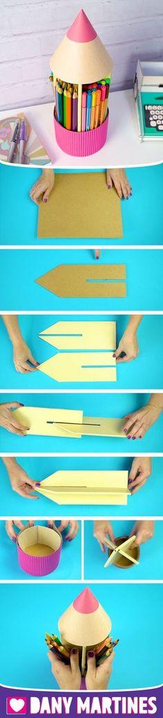 Faça você mesmo um porta lápis gigante usando papelão e gastando pouco, canetinhas, canetas, organizador, DIY, Do it yourself, Dany Martines