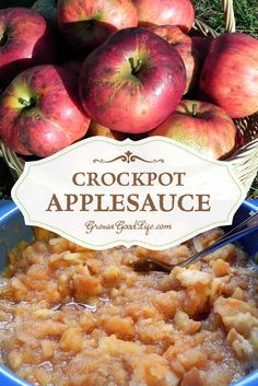 No added sugar for this Crockpot Applesauce recipe. Slow cooking the apples in a crockpot brings out their natural sweetness. Crockpot Applesauce Recipe, Applesauce Recipes Canning, Slow Cooker Recipes, Crockpot Recipes, Real Food Recipes, Healthy Recipes, Healthy Eats, Yummy Recipes, Healthy Snacks