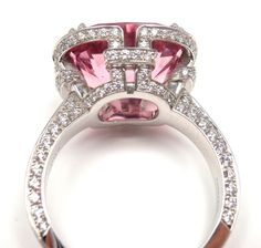 TIFFANY & CO. Diamond Platinum Pink Spinel 'Blue Book' Ring | From a unique collection of vintage cocktail rings at https://www.1stdibs.com/jewelry/rings/cocktail-rings/