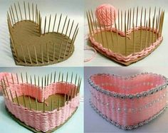 kalp şeklinde kutu sepet yapımı