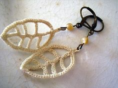 SALE HALF PRICE  Earrings Bronze Lever Back Crocheted Delicate Leaves in Ivory