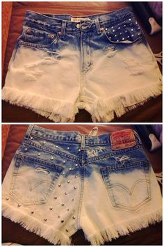 Ombre High Waisted Denim Shorts