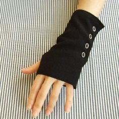 Up-cyle a pair of socks into some snazzy fingerless gloves (or wrist warmers)
