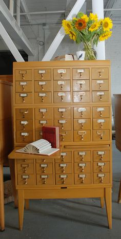Library Catalog Card Index, Large Mid-Century with Writing Pull-outs