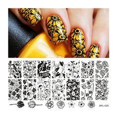 Born Pretty Nagel Schablone Nail Art Stamp Platte 12,5 x 6,5 cm BP-L029