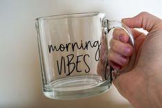 Cute Coffee Mugs, Coffee Cups, Clear Glass Coffee Mugs, Wine Glass Decals, Kitchen Stickers, Homemade Soft Pretzels, Kitchen Jars, Cricut Craft Room, Jar Labels