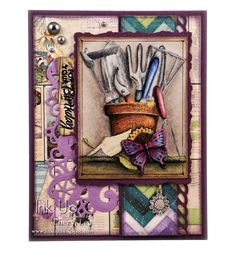 Ink Up: Gardening Tools in Pencil--Birthday card using Impression Obession image, colored with Prismacolor pencils