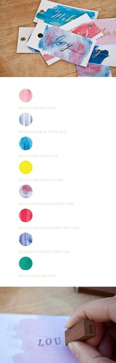 Free Printable: Watercolor Tags in 8 shades. (You add the writing or stamping).