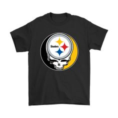 NFL Team Pittsburgh Steelers x Grateful Dead Logo Band Shirts teeqq.com/... A badass looking shirt with the crossover image of NFL Pittsburgh Steelers logo and the Rock band Grateful Dead logo. With the team logo inside a skull, this shirt make you look deadly as a fan of a top tier team. It\'s perfect for the Pittsburgh Steelers football fans who want to look cooler, or simply just as someone w