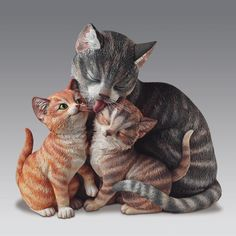 Furr-Ever Family Cat - Mother with Babies Figurine Bradford Exchange