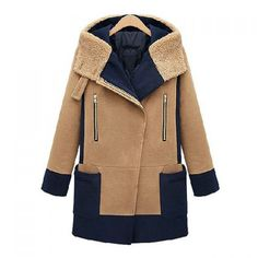 Fashionable Hooded Neck Zipper Color Block Long Sleeves Overcoat For Women, CAMEL, XL in Jackets & Coats | DressLily.com
