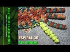 Como hacer espirales, ricitos o bucles a ganchillo o crochet - YouTube Knitting Videos, Crochet Videos, Crochet Classes, Crochet Projects, Crochet Borders, Crochet Stitches, Love Crochet, Crochet Flowers, Crochet Garland