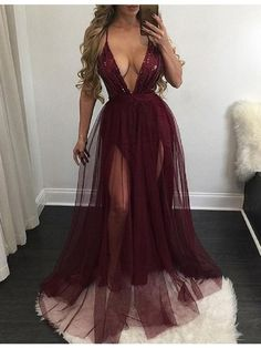 Sexy Prom Dresses A-Line Deep V-Neck Sleeveless Floor-Length Burgundy Prom Dress with Sequins