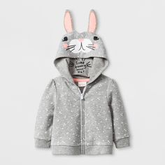 40f045fe6ced Baby Girls  Bunny Hoodie Jacket - Cat   Jack Gray 12M
