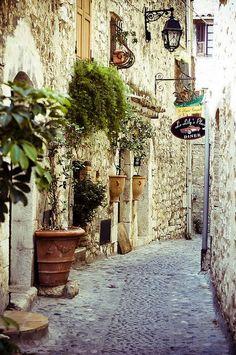 Cobblestone Street in Provence, France