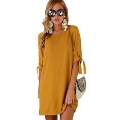 Half Sleeve Vintage Yellow Dress Women O-Neck Casual Slim Office Dress Autumn Solid Fashion Mini Party Dresses 2017 Bandage Sexy #Affiliate