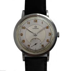 Vintage 1947 Large Stainless Steel Classic Omega Men's Watch Rare Caliber 28