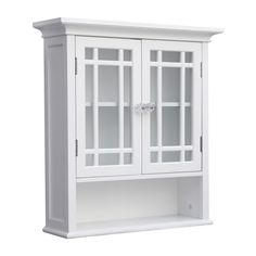 Elegant Home Fashions Andi W x H x D White Bathroom Wall Cabinet at Lowe's. This floor cabinet offers sleek lines for a modern look. This cabinet features two glass doors accented with grid-work design and beveled molding. Bathroom Wall Storage, Wall Storage Cabinets, Bathroom Wall Cabinets, Bathroom Styling, Storage Shelves, Bathroom Ideas, Bath Ideas, Bathroom Furniture, Bathroom Interior