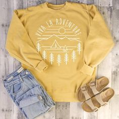 This Viva La Adventure Crewneck Sweatshirt hipster retro camping is just one of the custom, handmade pieces you'll find in our sweatshirts shops. Tumblr Outfits, Adrette Outfits, Trendy Outfits, Fall Outfits, Fashion Outfits, Womens Fashion, Yellow Outfits, Classy Outfits, Fashion Clothes