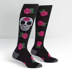 0562d83be Celebrate Dia de los Muertos (Day of the Dead) with your very own women s Sugar  Skull Knee High Socks. Sweet white