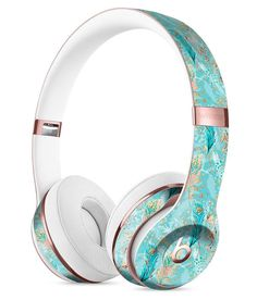 Teal and Coral Whispy Feathers Over Waterstrokes Full-Body Skin Kit for the Beats by Dre Solo 3 Wireless Headphones