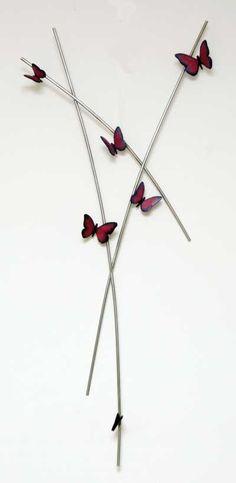 Bronze & stainless steel Garden sculpture by artist Veda Hallowes titled: 'Imagine (bronze butterfly wall sculpture)' £1150 #sculpture #art