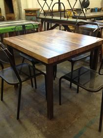 reclaimed bowling alley wood table
