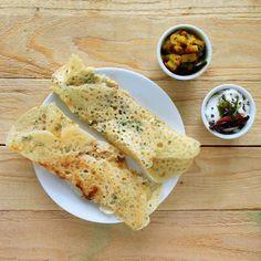 Gluten free Rava Dosa (Quick Indian Rice flour crepes) with Potato masala and coconut chutney. vegan recipe. - Vegan Richa