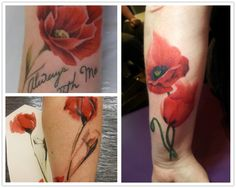 2014 cool poppy watercolor Tattoo design on forearm - red, flower bud, quotes