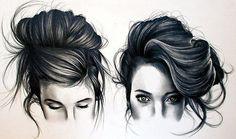 Pencil Sketch of girls hair portrait