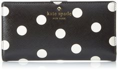 Amazon.com: kate spade new york Cedar Street Dot Stacy Wallet, Black/Clotted Cream, One Size: Clothing