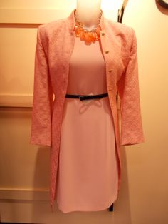 In honor of Breast Cancer Awareness Month we bring you a series of stylish outfits to help you think pink! Today: a gorgeous pink coat and dress both by Kasper and perfect for the office! At Clothes Mentor-Alliance Center