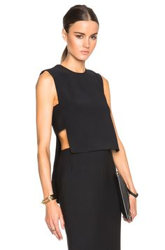 Image 1 of Adam Lippes Banded Front Crop Shell in Black