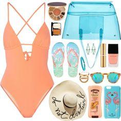 Beach Bag by celida-loves-pink on Polyvore featuring мода, Tart Collections, Aéropostale, J.Crew, Kate Spade, David Yurman, Eugenia Kim, Illesteva, tarte and Hawaiian Tropic