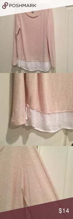 Old Navy Layered Top Light weight layered look Long Sleeve Knit Tee. Photos make it look kind of pink but its really more Oatmeal / cream as seen in tag shot. Small snag in left arm (see pic) but hardly noticeable. Old Navy Tops Blouses