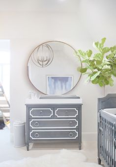 Chic Gray Nursery - we love the Beverly Changing Table with oversized mirror. So chic!