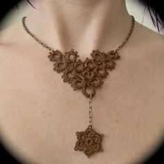 Tatted Lace and Chain Necklace - Flower Fall - Brown and Brass