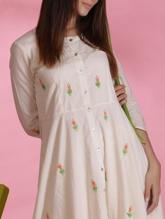 White Hand Embroidered Cotton Mul Flared Kurta with Culottes - Set of 2