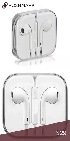 New white headphones earbud volume mic iPhone 4-6S Premium Headphones with Stereo Mic & Remote Control For iPhone 4-6s Plus The ergonomic design keeps the Ear Pods comfortably secure just inside the ear control music video playback by pressing the center button. answer and end calls compatible with Ipod ,Ipad and Iphone 5,5s,5c,6,6S,6Plus,6SPLUS Use the in-line remote controls to change the volume levels. Best bass and noise cancelling performance. Universal. Check out my closet I also have…