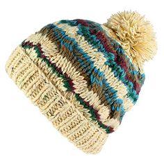 Morehats Bohemian Stripe Crochet Knit Slouchy Pom Pom Handmade Beanie  Winter Ski Warm Hat Knitting Accessories 1fbf3d770b5f