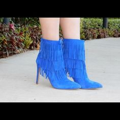 Steve Madden Blue Fringe Booties Brand new blue booties. Gorgeous and perfect for any season. Popular item among bloggers. Offers welcome through offer tab. No trades. 32516390 Steve Madden Shoes Ankle Boots & Booties