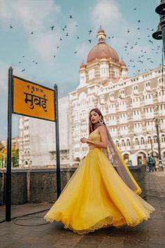 Looking for Mango yellow mehndi lehenga? Browse of latest bridal photos, lehenga & jewelry designs, decor ideas, etc. Desi Wedding Dresses, Indian Wedding Outfits, Indian Outfits, Lehenga Choli Wedding, Lehenga Gown, Anarkali Frock, Indian Look, Indian Wear, Yellow Lehenga