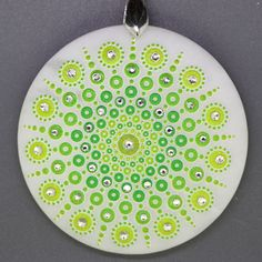 JEWELRY PENDANT PAINTED MANDALA WITH GLASS BEADS WHITE GEMSTONE ZR8000456 #ZL #Pendant